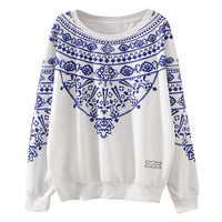 White Pasley Print Long Sleeve Pullover Sweatshirt