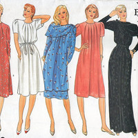 Vogue Basic Design 80s Sewing Pattern Pleated Neck Loose Fit Dress Mid Knee or Maxi Length Shawl Scarf Wrap Casual Dress Gown Uncut Bust 40