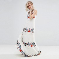 White Dress Floral Embroidered Maxi Dress Elegant Party Dress Boho People Casual Beach Long Dresses Women Vestidos