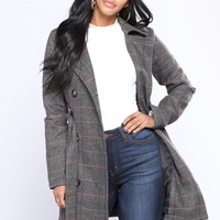 Tina Herringbone Plaid Trench Coat - Black