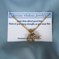 Gold Elephant Heart Necklace Karma Wisdom Jewelry Quote Card -good vibes attract good lives- Gold Necklace Personalized Gifts