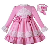 Pink Round Collar Lace Flare Sleeve Princess Dress