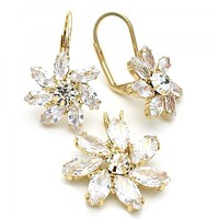 Gold Layered 5.056.002 Earring and Pendant Adult Set, Flower Design, with  Cubic Zirconia, Golden Tone