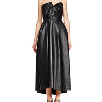 Faux-Leather Strapless Dress, Black