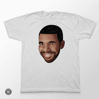 Drake Head - Smiling Drake White Unisex T-Shirt - Sizes - Medium Large
