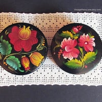 2 Vintage Trinket Boxes, Russian Tole Painted Floral Lacquer Wood, Boho Folk Art