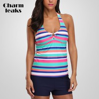 Charmleaks Women Tankini Set Colorblock Striped Swimwear Bandages Swimsuit Padded Bandage Bathing Suit Bikini