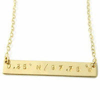 Personalized Coordinate Necklace, Latitude & Longitude Necklace, Custom Coordinate Necklace
