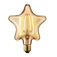 TRANSTEC - 1 PACK - STAR Shape 2 Watt Amber Glass Edison Filament Home-Deco Retro LED Bulb Warm White - Wide Dimmable - New Style for Christamas Holiday - 110~130V E26 Socket 2200K
