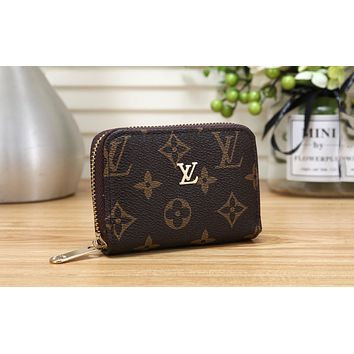 LV 2019 new fashion casual short canvas zip wallet Coffee print