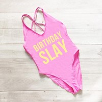 BIRTHDAY SLAY Letter Bikini High Cut Women Swimwear One Piece Swimsuit Back Cross Bathing Suit Sexy Summer Top Swim Suit badpak