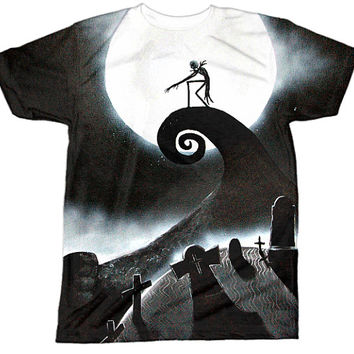 Nightmare Before Christmas Shirt | Jack Skellington Shirt | Disney Pixar Emo Goth | All Over Sublimation Print | HD Front and Back Tshirt