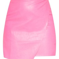 Hot Pink Faux Leather Wrap Mini Skirt