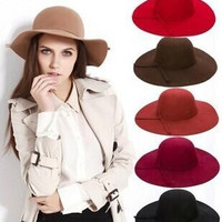 Wool Hat Cloche Bowknot Band Wide Brim Cap Lady Felt Bowler Floppy Hat DII = 1958055172