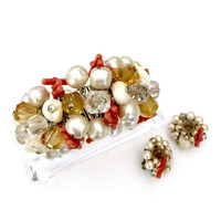 Cha-cha Demi, Made in Japan, Bracelet Earring Set, Faux Branch Coral Pearls Faceted Crystals, Silver Tone Metal, Mid-Century Vintage Jewelry
