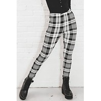 Standing Ovation Black And White Plaid Leggings