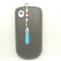 Healing Crystal Synthetic Turquoise Point Pendulum Charka Jewel Cell Phone Earphone Jack Antidust Plug Charm for iPhone, Samsung, HTC, Nokia