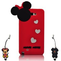 I Need Minnie Mouse Hide and Seek Silicone Case with 3d Anti-plus Minnie Pen Compatible with Samsung Galaxy Note II N7100 (RED) red