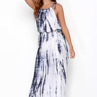 Near or Far Blue Tie-Dye Maxi Dress
