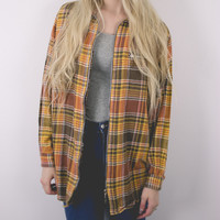 Vintage Zipped Brown Plaid Flannel Shirt