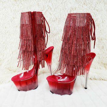 """Adore 1017 Red Fringe 7"""" Frosted Platform High Heel Ankle Boot Size 11 NY"""
