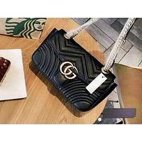 GUCCI fashionable double G solid color shopping bag hot selling casual lady shoulder bag Black