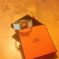 Hermes Clic Clac H Bracelet White and Gold Size PM Thick Band 100% Authentic