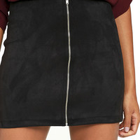 Haute Babe Black Vegan Suede Mini Skirt