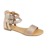 Two Ankle Strap Flat Sandals with Buckle