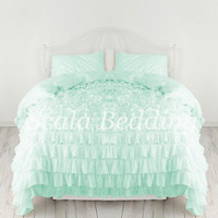 100% Cotton Bedding 1000-TC Waterfall Ruffle Duvet Cover Set All Size All Colors