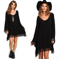 Women Soft Tassel Boho Long Sleeve Loose Dress Casual Jumper Party Mini Dresses SM6