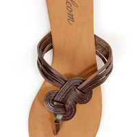 Volcom Happy Me Brown Leather Knotty Thong Sandals
