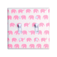 Pink Elephant Nursery Light Switch Plate Cover / Baby Girl / Nursery Decor / Kids Room / Slightly Smitten Kitten