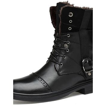 Men's Snow Boots Nappa Leather Fall & Winter Casual / British Boots Warm Mid-Calf Boots Black