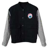 Eyeball-embroidered Striped-sleeves Baseball Jacket