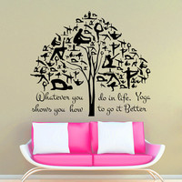Wall Decals Yoga Quote Whatever you do in life Gymnast Tree Vinyl Sticker Decal Gym Decor Home Interior Design Art Murals MN 299