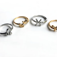 """""""Lucky Charm"""" Gold And Silver Ring Set"""