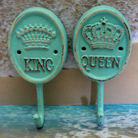 King Queen Crown Pair His Her Cast Iron Beach Blue Wall Hooks Decor Paris Shabby Cottage Chic Leash Jewelry Coat Hat Key Bathroom Towel Hook