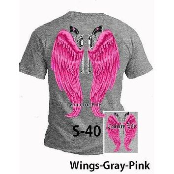 Country Life Outfitters Gray & Pink Wings Guns Vintage Girlie Bright T Shirt