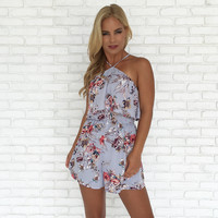 Flirting with Floral Halter Romper