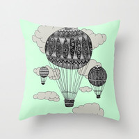 Mint Hot Air Balloon Pillow - Double Sided Throw Pillow - Ornate Hot Air Balloon Pillow Cover - Faux Down Insert - Illustrated Pillow Cover