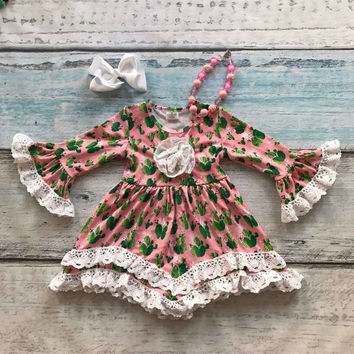 girls clothes baby kids clothes cactus print cotton Fall Winter white lace dress boutique flare sleeve matching necklace &bow