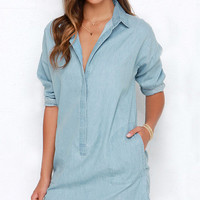 Blue Denim Long Sleeve Dress