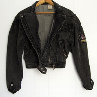 Vintage 80s 90s Crop Motorcycle Jacket Faded Black Denim Jean Biker Zipper Small