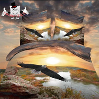 3D Eagle Lake Sunrise Bird Quilt Covers and Bedding Set