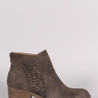 Qupid Perforated Block Heeled Western Booties