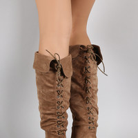 Rear Lace Up Slouchy Flat Boots