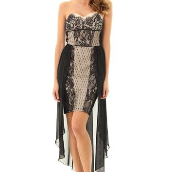 JD285 Pretty lace panel bodice and pencil skirt