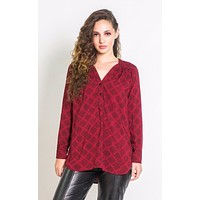 Adjustable Tunic in Red & Black Sketched Plaid