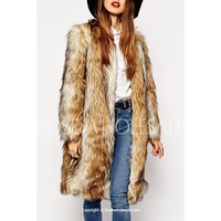 Color Spliced Faux Fur Trendy Style Round Neck Long Sleeve Coat For Women